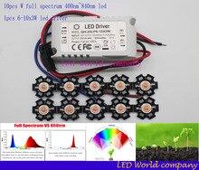 10 stücke 3 watt volle geführte spektrum 400 840nm led chip + 1 stücke 6 10x3w 650ma dc18 34v led stromversorgung mit konstanter aktuelle led diy kit