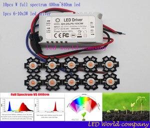 Image 1 - 10 stks 3 w volledige spectrum led 400 840nm led chip + 1 stks 6 10x3w 650ma dc18 34v led voeding constante stroom led diy kit