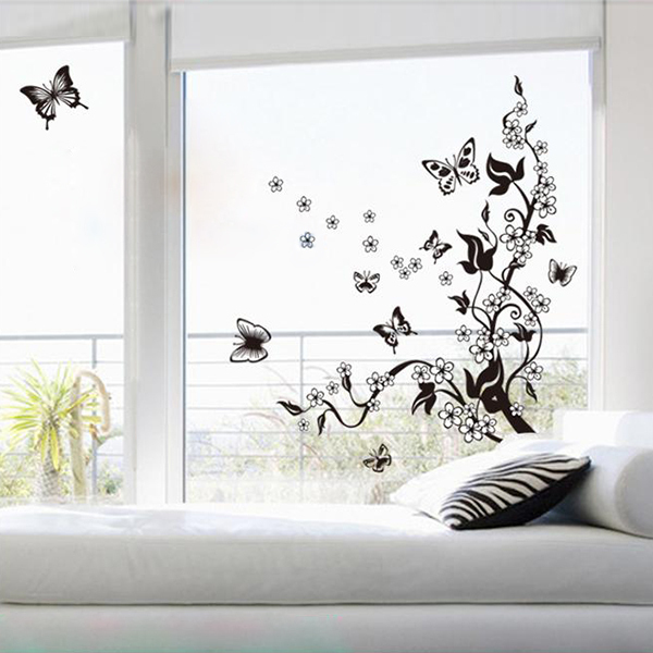 Black wall mural decal wall stickers butterfly flowers - Decoration murale en metal design ...
