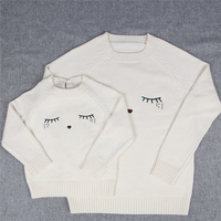 Family Matching Outfits Sweaters Mother And Daughter Clothes White Eyelash Sweaters For Mom And Kids Fashion