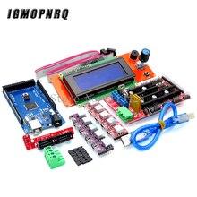 Mega 2560 r3 ch340 + 1 pces rampas 1.4 controlador + 5 pces a4988/drv8825 stepper driver módulo + 1 pces 2004 controlador para kit de impressora 3d