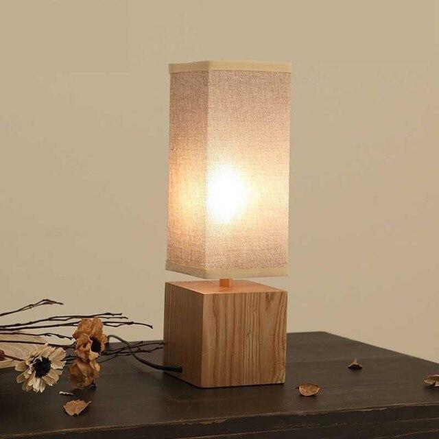 Solide Table En Bois Lampes Textile Retro Chambre De Chevet Design