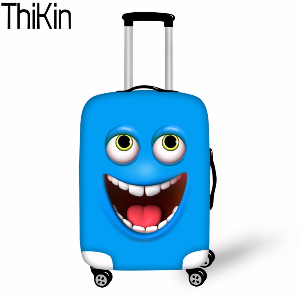 THIKIN Luggage Cover 3d Funny Face Smiley Emoji Dust-proof Travel Bags Luggage Case Cover Thick Protective Covers for Suitcases