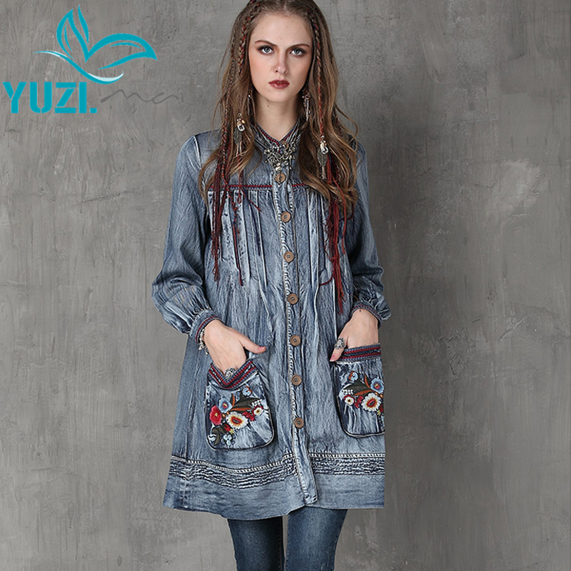 Trench Coat 2017 Yuzi may Casual New Denim Women Coats Stand Collar Floral Embroidery Lantern Sleeve