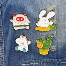HOT Cartoon animal enamel pin Pig Rabbit unicorn Sun badge brooch Lapel for Denim Jean shirt bag Jewelry Gift women kids