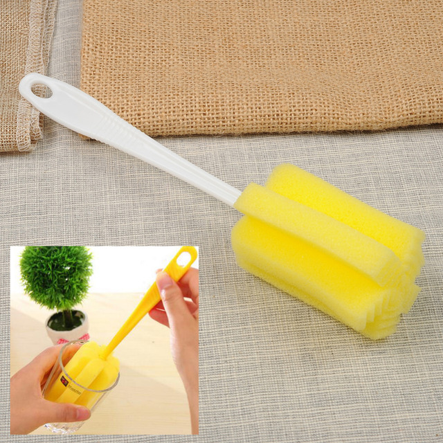 Random Color 1 Pcs Long Handle Placstic And Sponge Cleaning Brush Bottle  Brush Kitchen Cleaning Tool