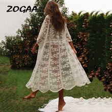 ZOGAA Summer Boho White Lace Women Beach Long Dress Sexy Hollow Out Transparent Mesh Holiday Embroidery Female Elegant Cardigan