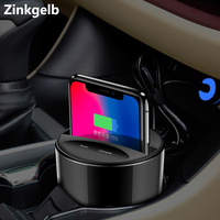 Car Wireless Charger Holder for iPhone XS Max XR X 8 Plus Samsung S8 S9 Plus 10W Qi Fast Charging Wireless Car Cup Charger Stand