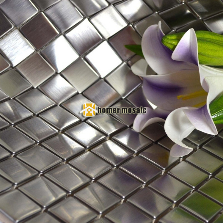 Brushed Finished Square Real Stainless Steel Metal Mosaic Tiles With  Painting Art For Living Room Kitchen Backsplash