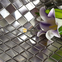 Brushed Finished Square Real Stainless Steel Metal Mosaic Tiles With Painting Art For Living Room Kitchen