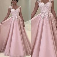 Robe De Soiree Tulle Cap sleeve evening dresses Long Pink Evening gowns 2019 Lace Appliques Formal dress party vestido elegante
