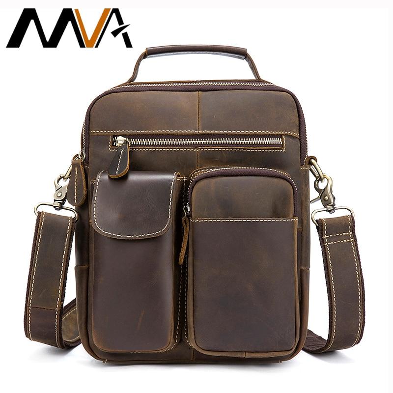 MVA Vintage Crazy Horse Genuine Leather Bag Men Messenger Bags Small Shoulder Crossbody Bags for Men Bag Male Top handle Handbag
