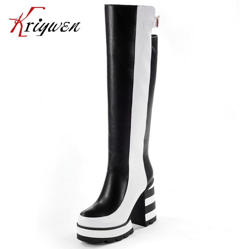 ФОТО Big size 34 40 Microfiber women Knee High boots mujer Botas thick heeled fashion mixed colors sexy women's motorcycle shoes