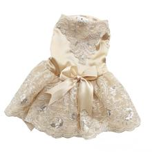 Luxury Princess Dog Wedding Dress Lace Pet Cat Dresses Tulle Teddy Skirt for Small Dogs