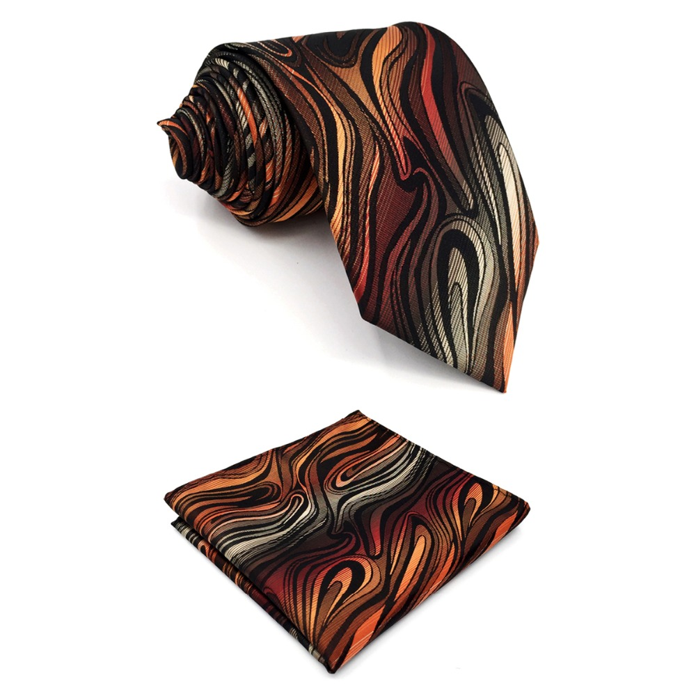 B17 Orange Black Ripple Silk Wedding Mens Necktie Set Novelty Classic Ties for male Dress Hanky extra long size 63