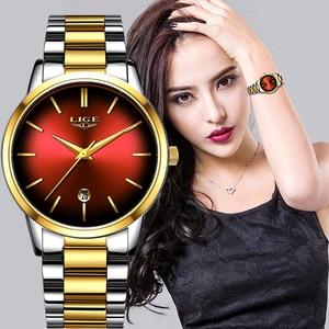 Image 1 - Fashion Women Quartz Watch Ladies LIGE Top Brand Luxury Women Watch Stainless Steel Waterproof Girl Dress Clock Relogio Feminino