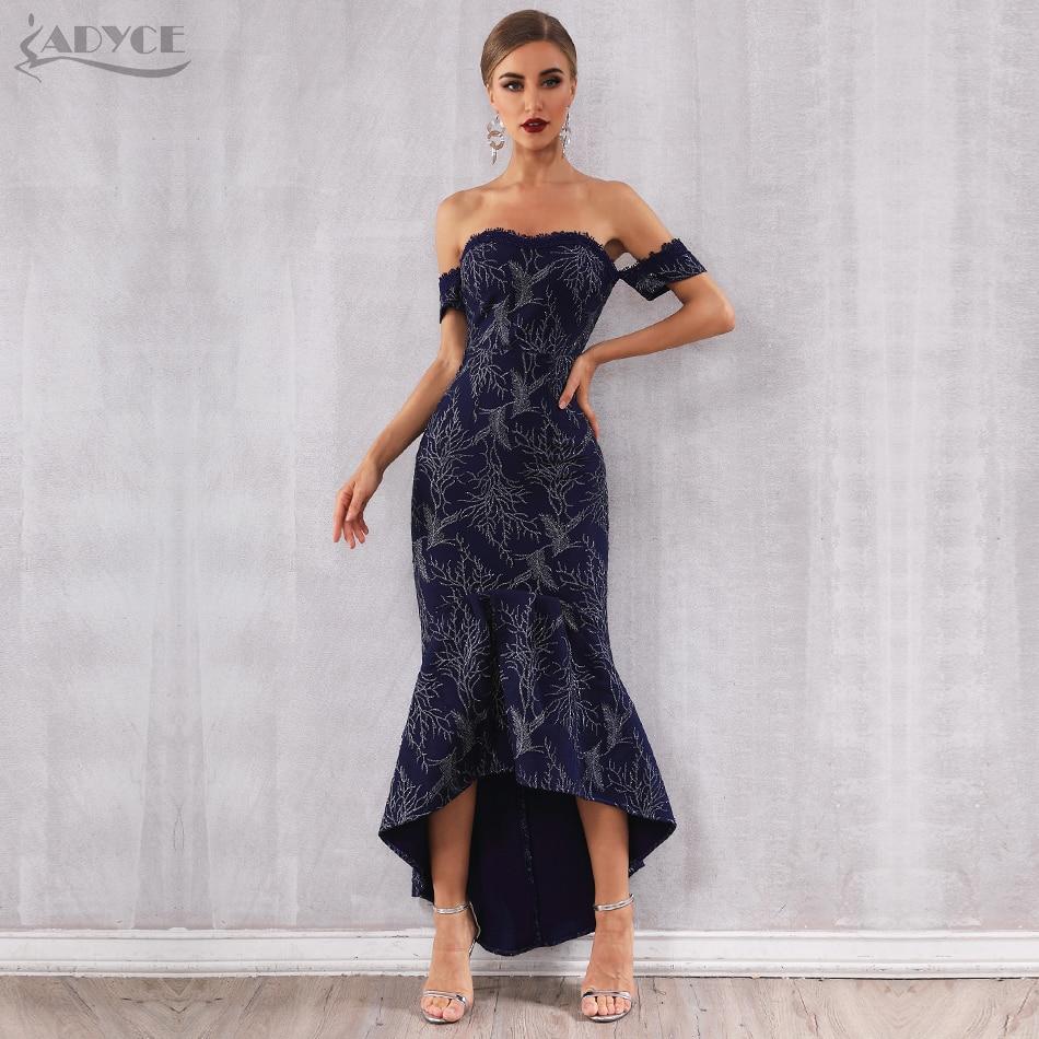 989d620545f Lacée Élégant Adyce 2019 Sexy Verano Encolure Blue Club New Robe Robes  Femmes Bustier Piste Celebrity ...