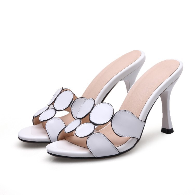 Women Sexy Thin High Heel Slippers Party Office Shoes Ladies Summer Elegant Slippers Open Toe Slipper For Woman White Black shinehome fashion makeups modelling salon beauty cosmetic 3d wallpaper wallpapers photo walls murals for 3 d roll wall paper
