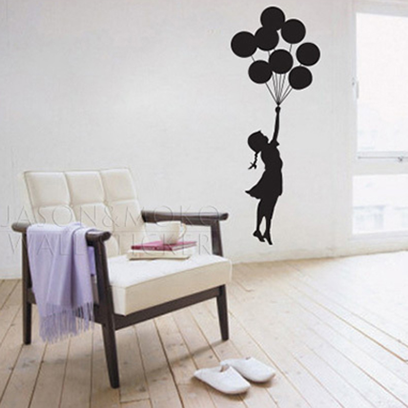 Art Banksy Design Ballon Girl Flying Dress Graphic Wall Sticker Vinyl Decal  Mural Wallpaper Kids Room Bedroom 45x120cm Christmas In Wall Stickers From  Home ... Part 73