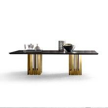 Столовый набор из нержавеющей стали, мебель для дома, минималистичный современный мраморный обеденный стол с натуральным мрамором, muebles comedor