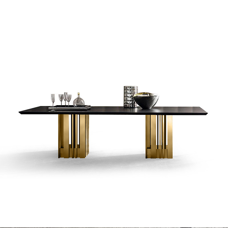 stainless steel Dining Room Set Home Furniture minimalist modern natrual marble dining table and mesa de jantar muebles comedor|Dining Room Sets| |  - title=