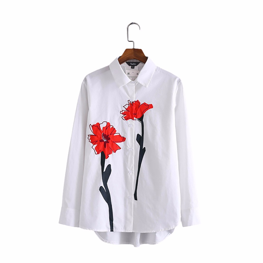 Women sweet red floral print white shirts loose blouse for White floral shirt womens