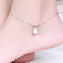 Hutang Bell Ankle Cubic Zirconia Bracelet for Women Real 925 Sterling Silver Fine Jewelry Summer Style(China)