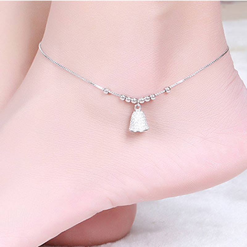 Hutang Real 925 Sterling Silver Bell Anklets Bracelet Cubic Zirconia Fine Jewelry for Women Summer Style 2018 New