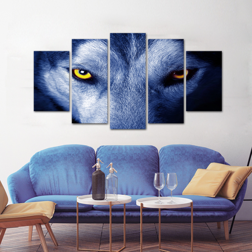 Unframed HD Print 5 Canvas Art Painting Wolf Living Room Decoration Spray Painting Mural Unframed Free Shipping