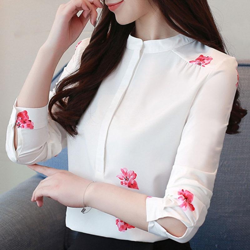 Blusa Blanco Oficina floral Tamaño Soporte Larga 2019 Butterfly Las Manga Impresión Plus Camisas Moda Blusas 40 La De 1042 Mujer Mujeres 7XwzRAq4