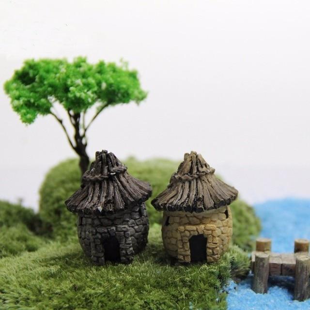 1 stück Micro Cottages DIY Garten Landschaft Harz Miniatur Baum ...