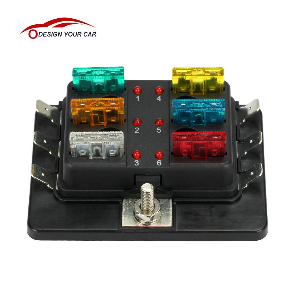 kkmoon 6 way 12v 24v blade fuse box holder with led warning light kit for  car