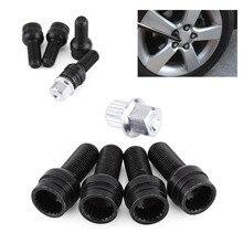 HOT 4+1 M14x1.5×27.5 8D0601139F Wheels Bolt Key & Lock Lug Nut Set For VW/Golf/Jetta/Beetle/Passat/Audi Black