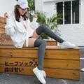 2017 nuevas mujeres de compresión de la pierna del muslo sobre la rodilla calcetines altos quemar grasa talladora de la pierna de ternera de varices medias del dedo del pie abierto calentadores