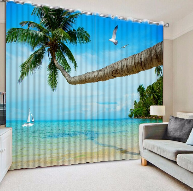 cool window curtains decorating european style 3d curtains for living room bedroom children cool beach landscape window drapes