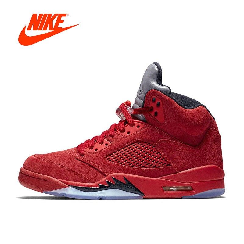 Original Nouvelle Arrivée Authentique Nike Air Jordan 5 rouge Suede AJ5 Hommes Respirant de Basket-Ball Chaussures de Sport Sneakers