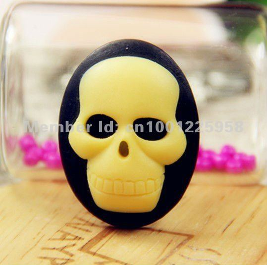 2012 New arrival  Free Shipping 30*40mm 8 Colors Flatback Resin Skull Cameo For Jewelry Decoration Wholsale 100pcs/lot