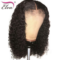 Elva Hair Curly Lace Front Human Hair Wigs Brazilian Remy Hair Lace Front Wig With Baby Hair Pre Plucked Natural Hairline 8 26''