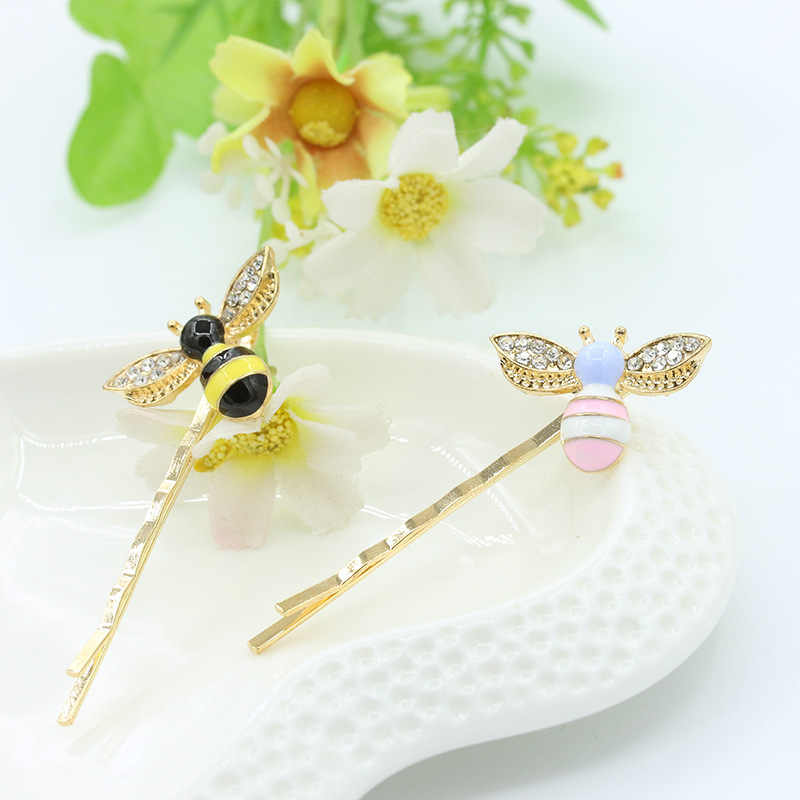 Hot Sale 1pc Cute Chic Rhinestone Bee Barrette Colorful Cartoon Hair Clip Accessories for Women Girls