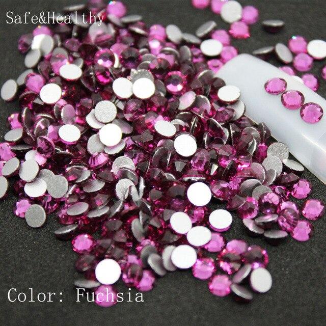 SS6-SS8 Fuchsia Rhinestones Back Flat Round Nail Art Decorations And Stones  Non Hotfix Rhinestones 7f6cd98d9cfb