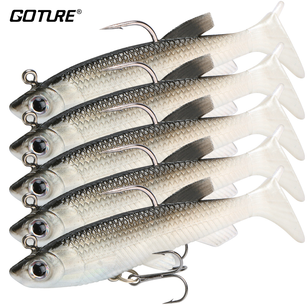 Goture 5 Pieces Soft Fishing Lure Wobbler Swimbait Silicone Isca Artificial Bait Carp Fishing Lead Jig Fish Pesca 13g/8.5cm