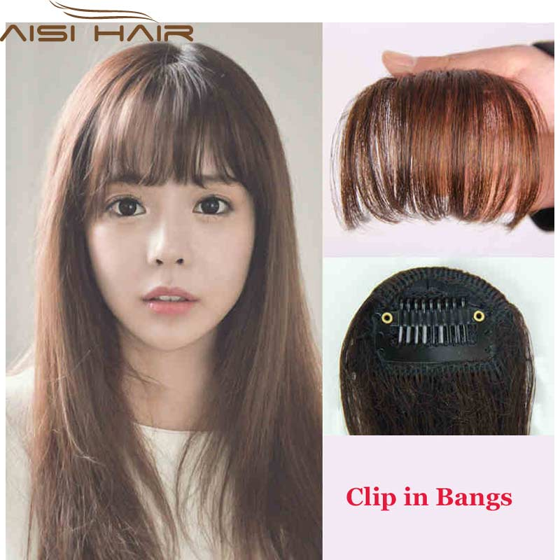 WISHApply Hair Clip in Bangs Fake Hair Extension Hairpieces False Hair  Piece Clip on Front Neat Bang Women Synthetic Fringe Bang 4684a0dc8e
