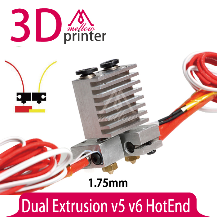 ФОТО All-metal Dual Multi-extrusion v5 v6 HotEnd head 0.2/0.3/0.4/0.5mm nozzle  upgrade Full Kit for 1.75mm 3D printer