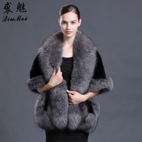 Bridal Wedding Women Pashimina Real Mink Fur Ponchos And Capes with Fox Collar Lady Stole Genuine Fur Coat Fur Shawls