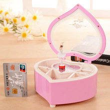 Heart Shape Dancing Ballerina Music Box Jewelry Box Plastic Mechanical Musical Box Girls Music Box Mechanism For New Craft Gift