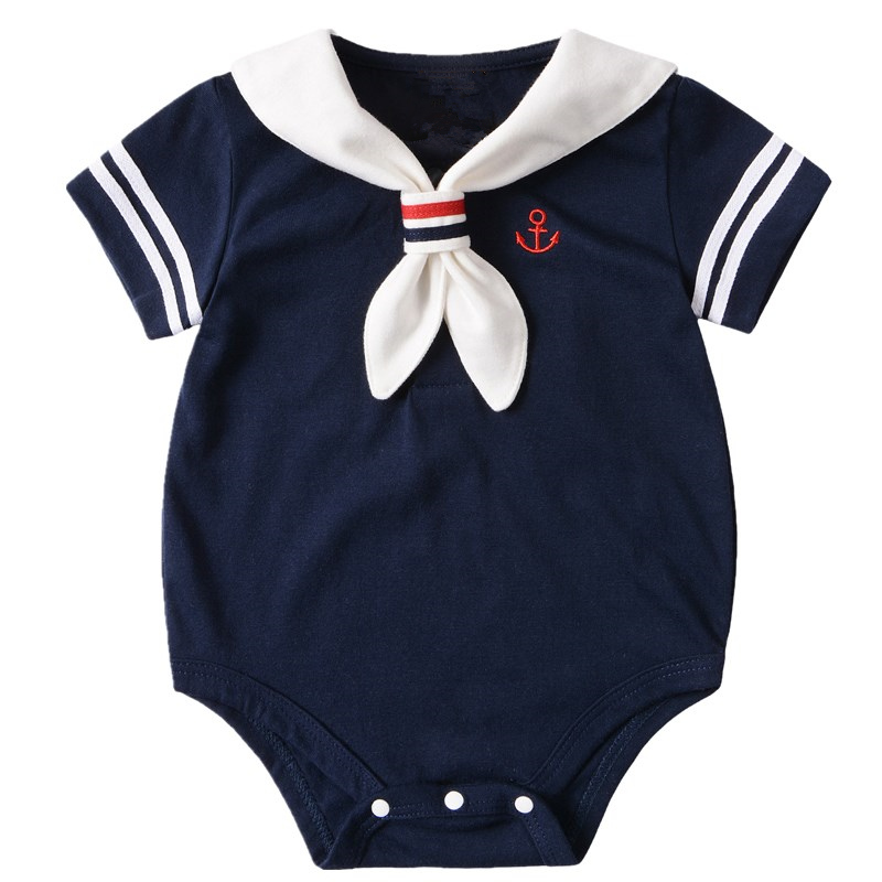 Navy Baby Boy Rompers Summer Short Sleeve Sailor Baby Girls Boys Jumpsuit Clothing Cotton Infant Costume Newborn Baby Clothes