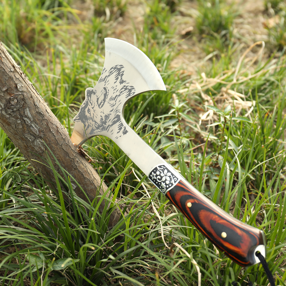 Outdoor Tomahawk Ax Multifunctional Wolf knife supervivencia survival Axe Model Mountain Camping Hatchet With Wooden Handle image