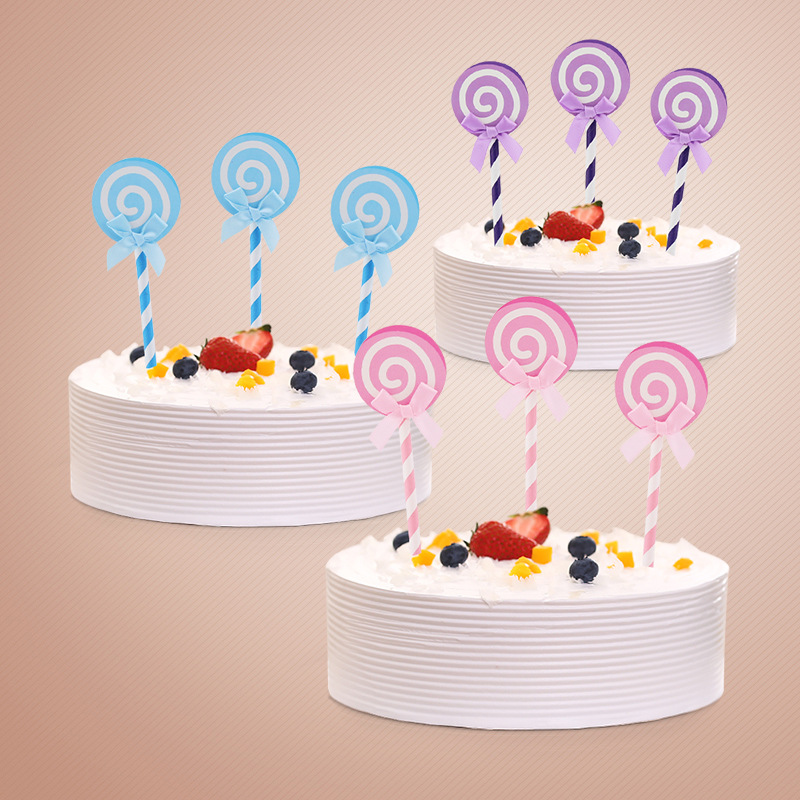 24pcslot Colored Lollipops Bow Insert Card With Straw Cake Topper
