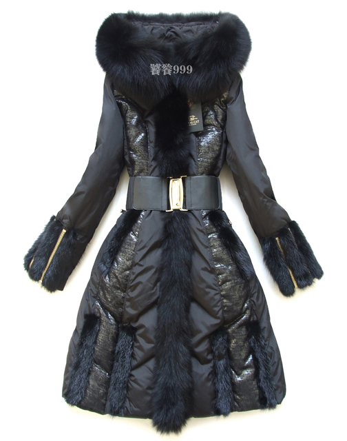 2016 Chaqueta de invierno de Las Mujeres abajo cubre de Encaje Royalcat Chaquetas Parkas Abajo de las mujeres de piel de mapache gran delgado diseño largo abajo escudo