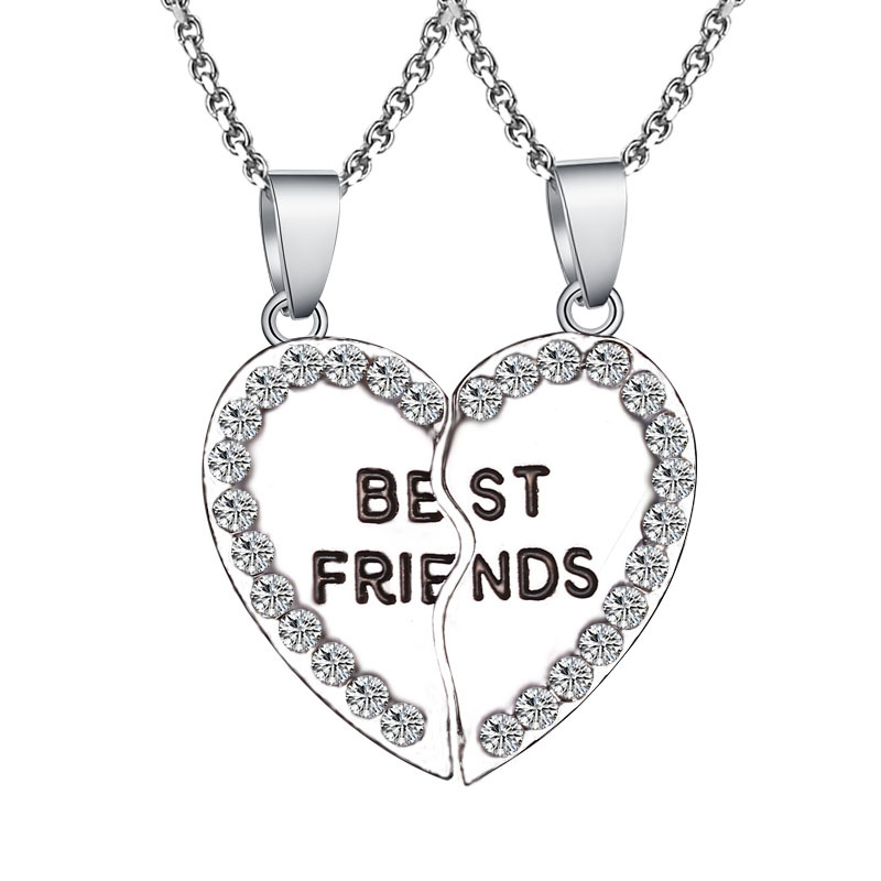 2 pieces / set Half love rhinestone pendant best friend necklace friendship gift for couple good frien dalloy pendant necklace 3